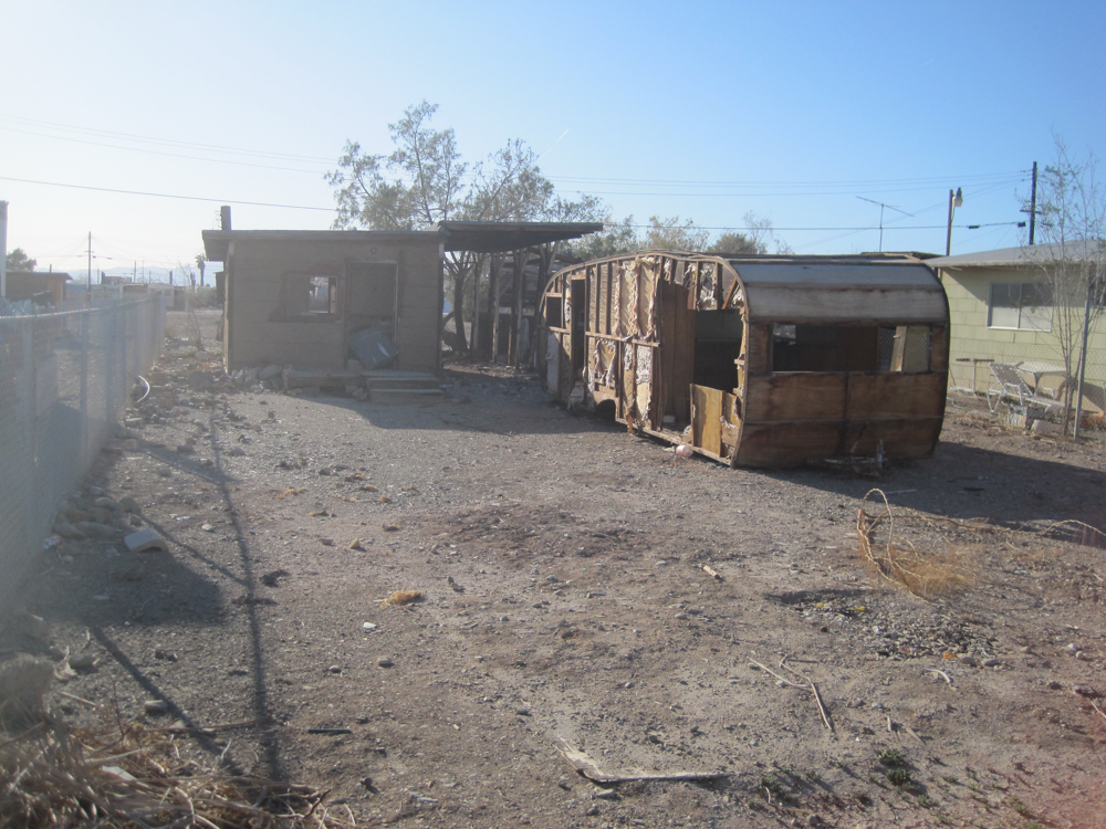 A dilapidated trailer in Bombay Beach.