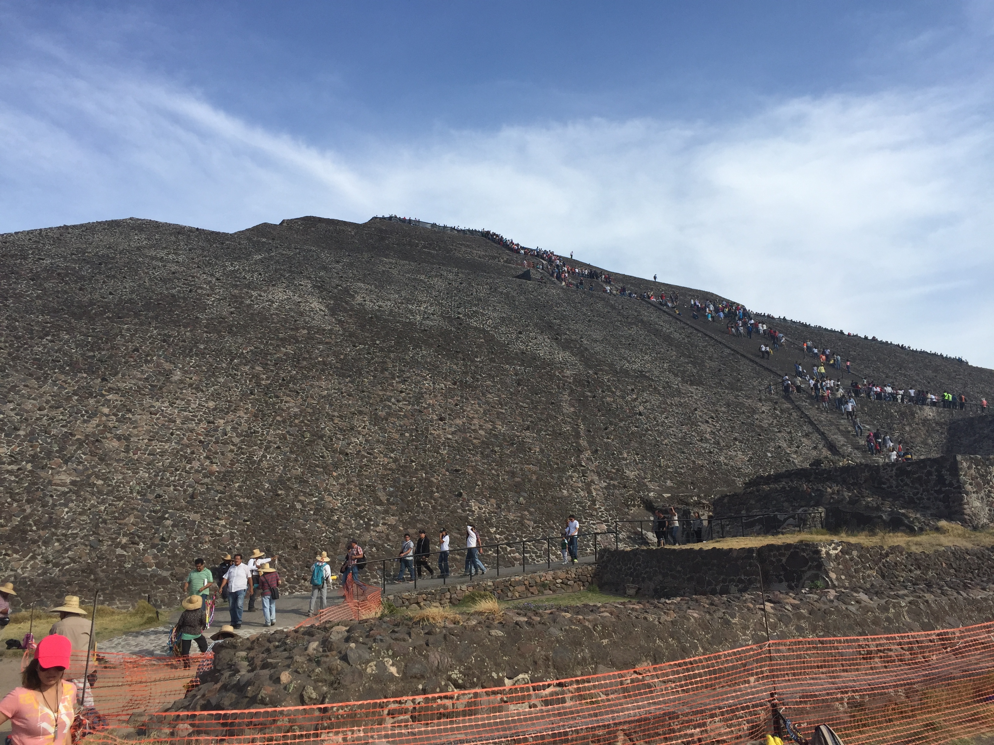 The base of the pyramid of the sun in Teotihuacan, mexico.