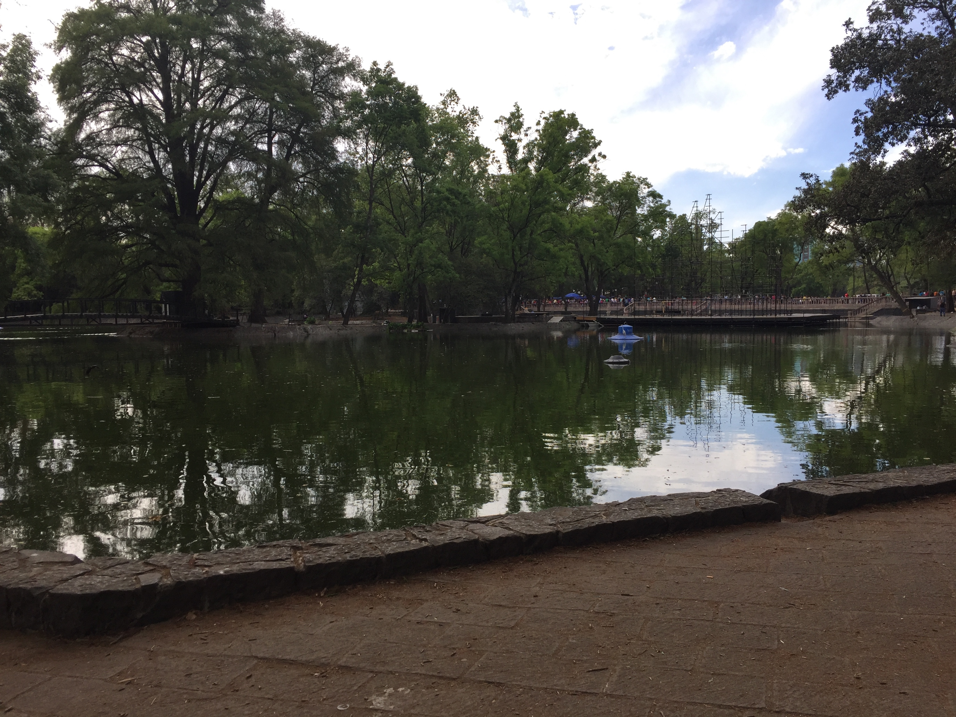 A pond in Chapultepec Park in Mexico City.