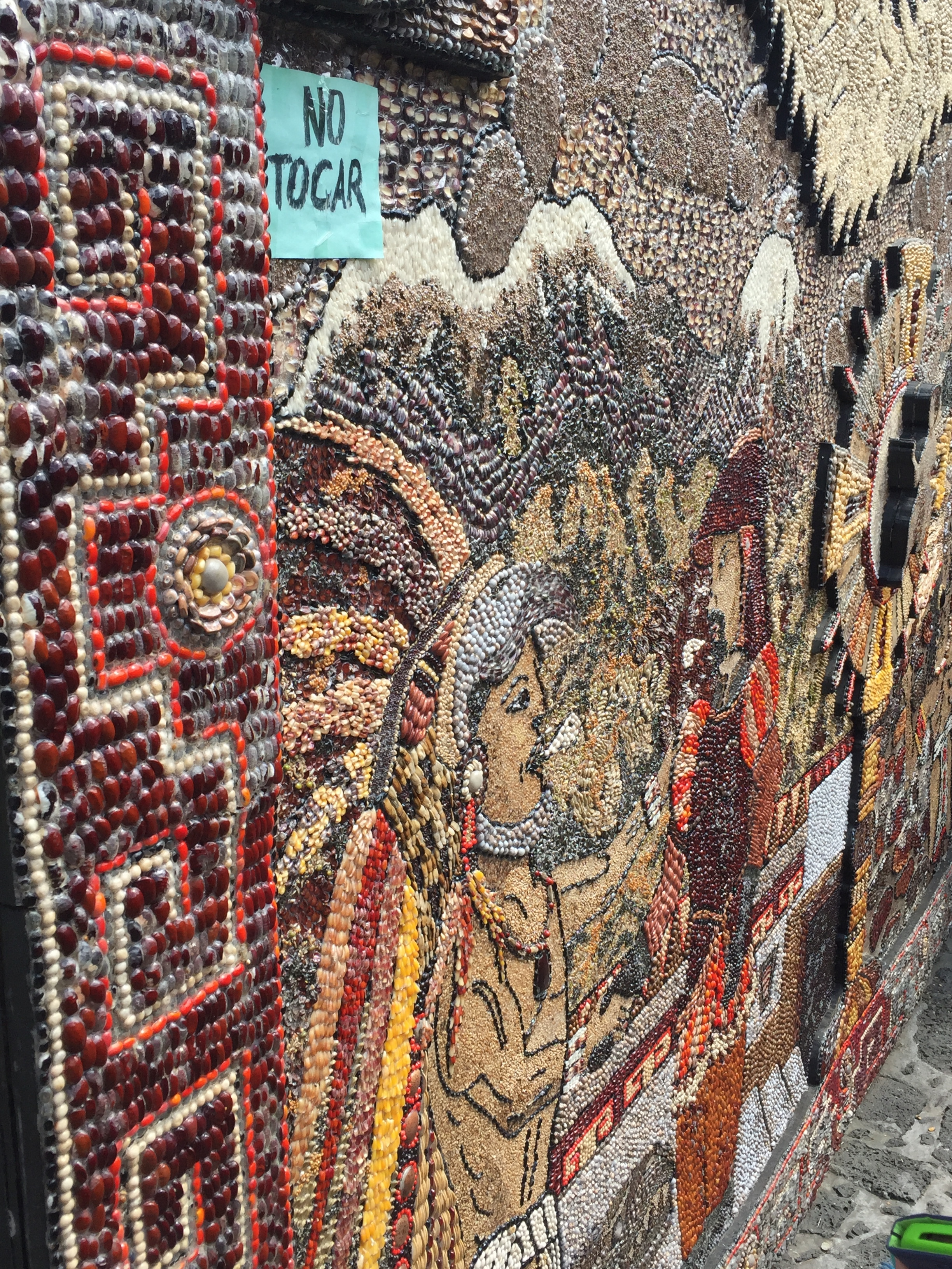 Intricate art made of seeds and beans in Tepoztlan.
