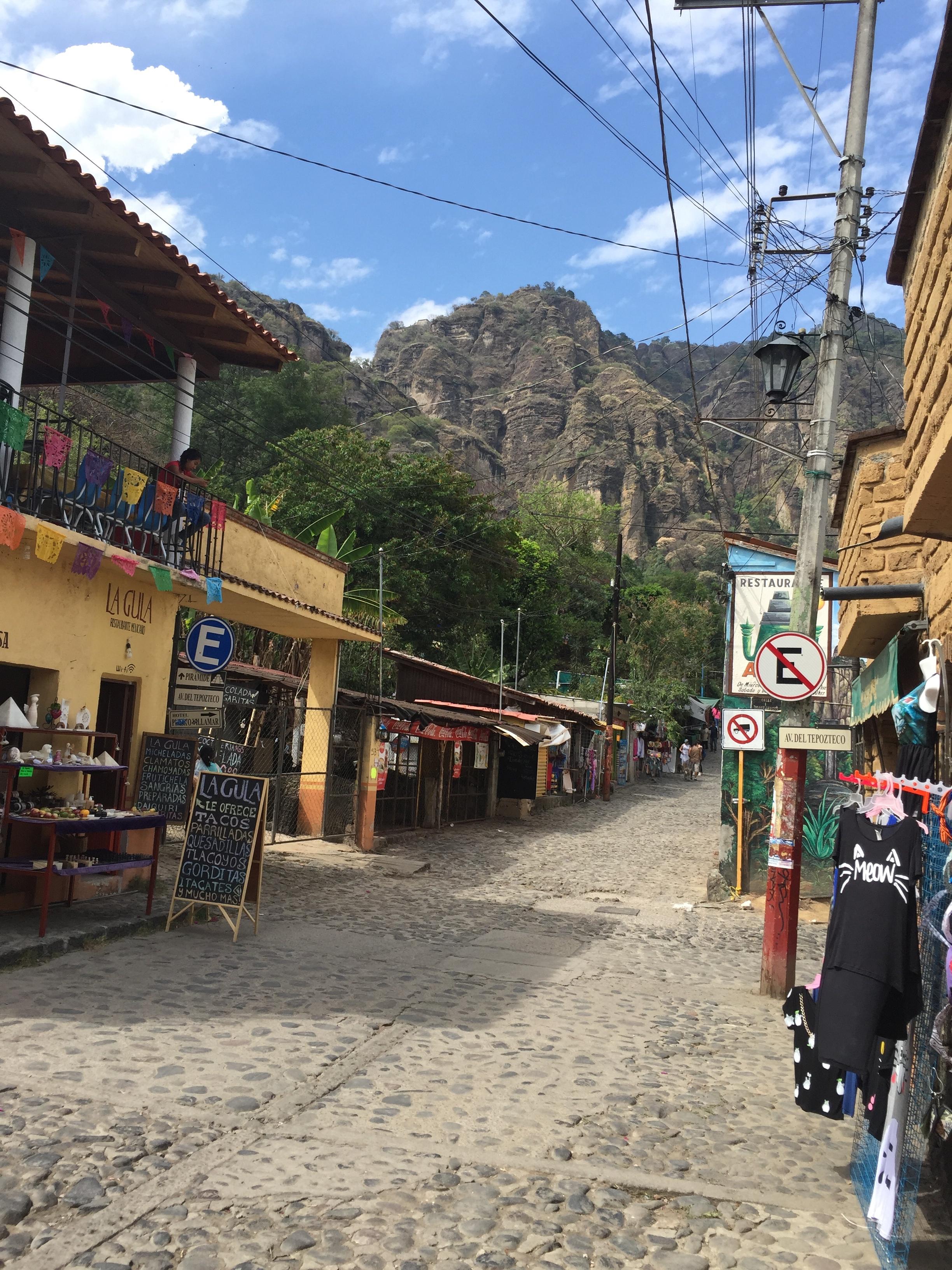 A cobblestone street in Tepoztlan, Mexico.