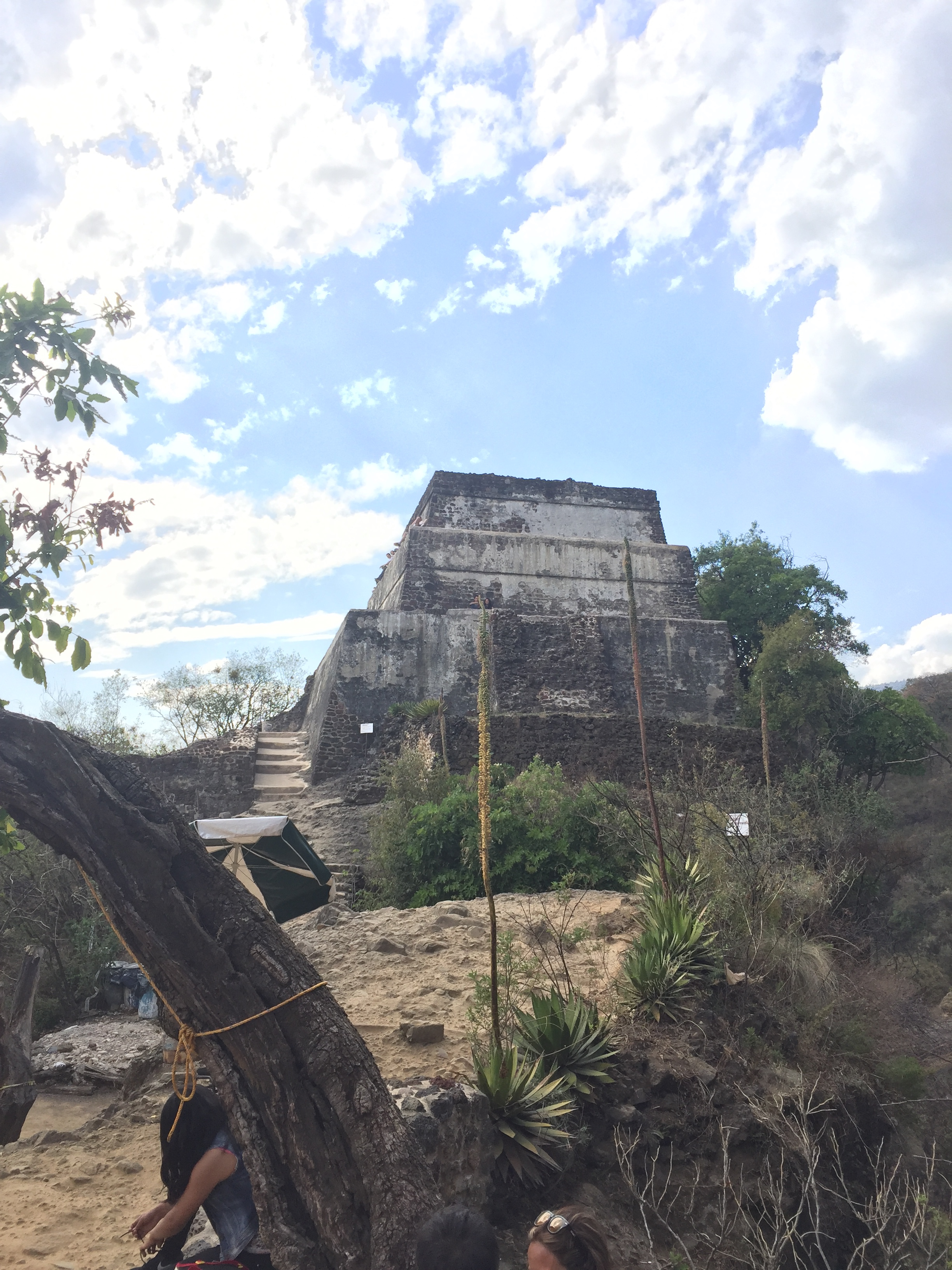 Az Aztec pyramid on a hill over Tepoztlan, Mexico.