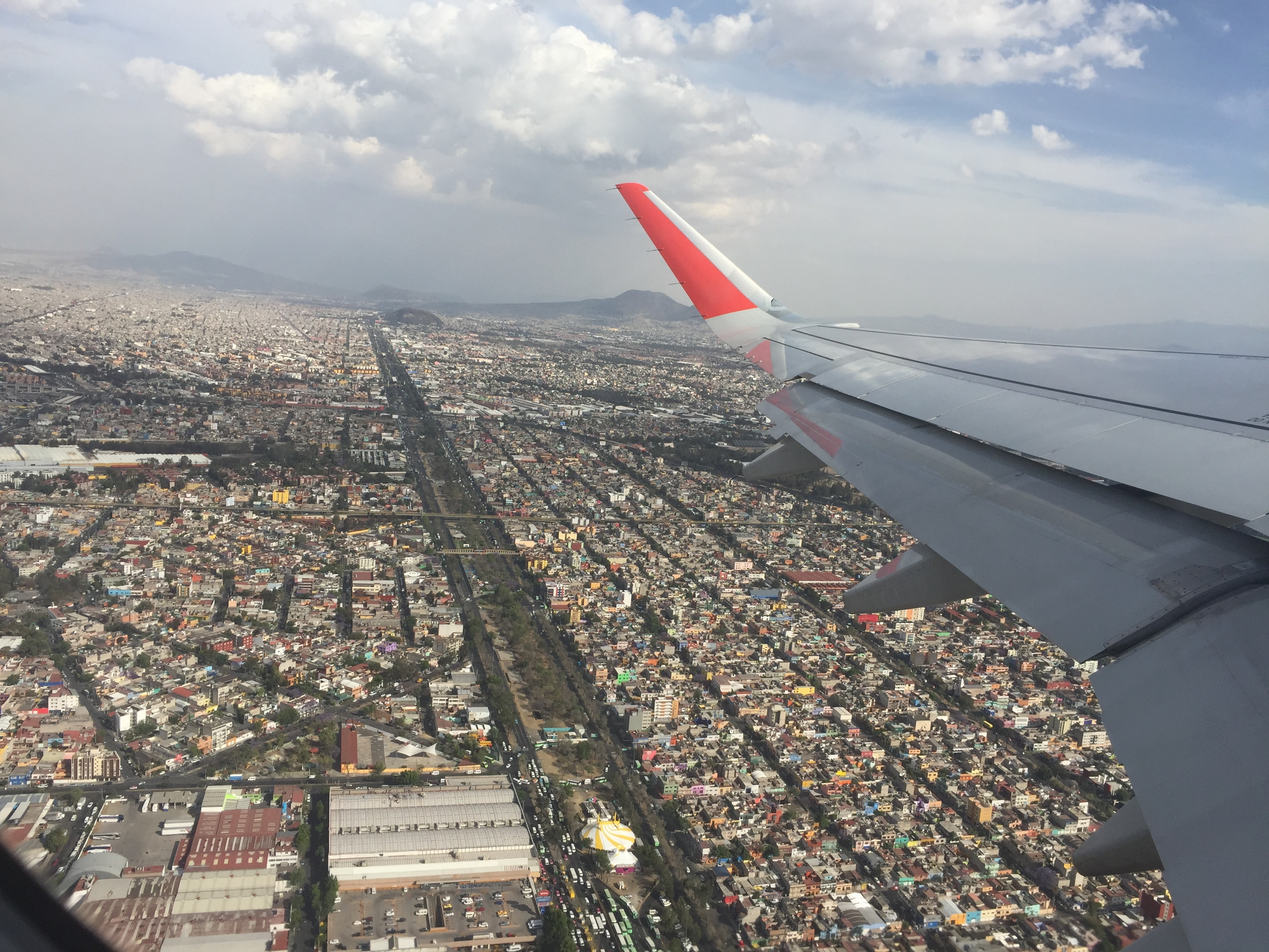 Mexico City as seen from a plane taking off.