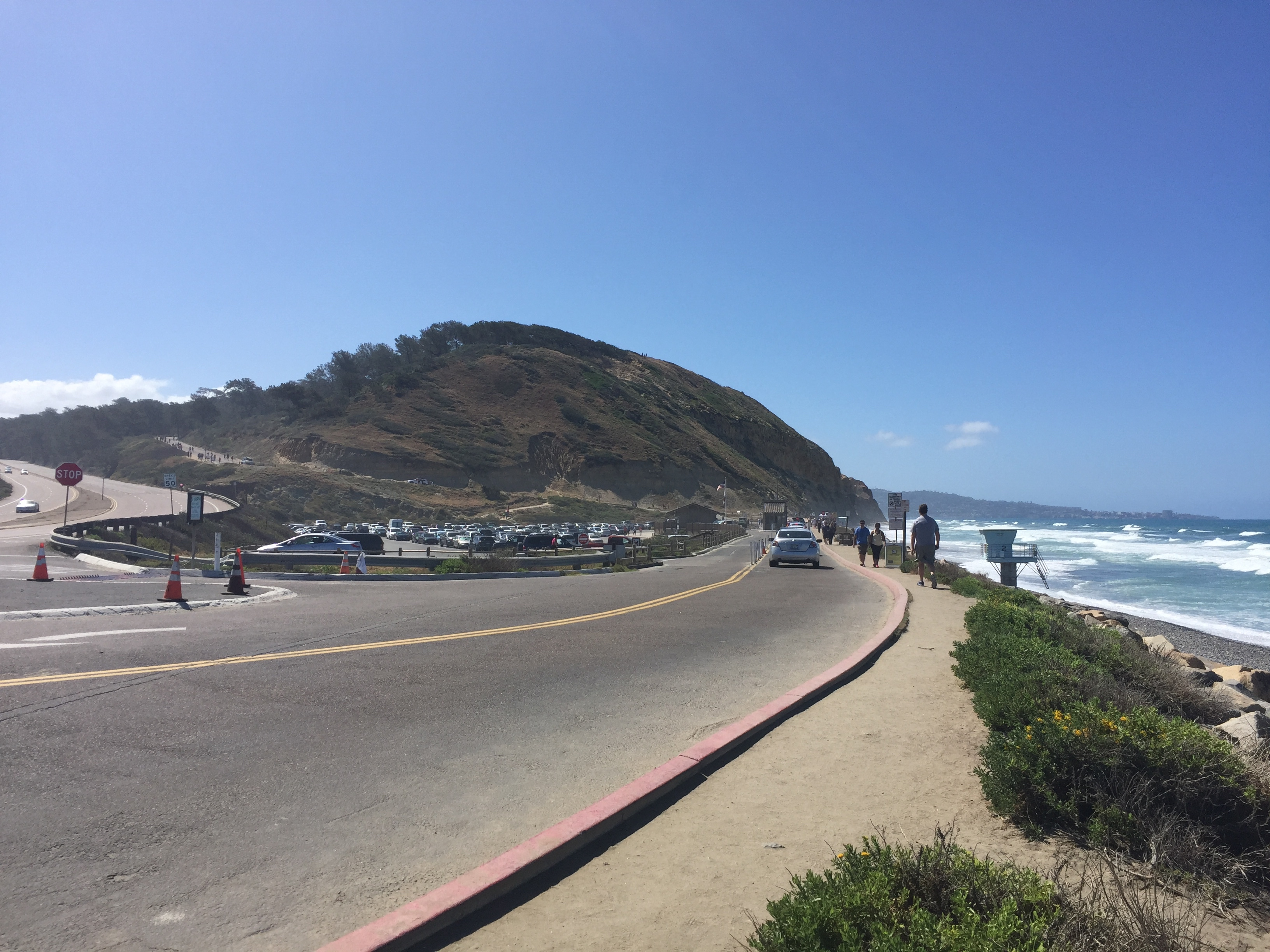 Parking lot full of cars at Torrey Pines State Beach.