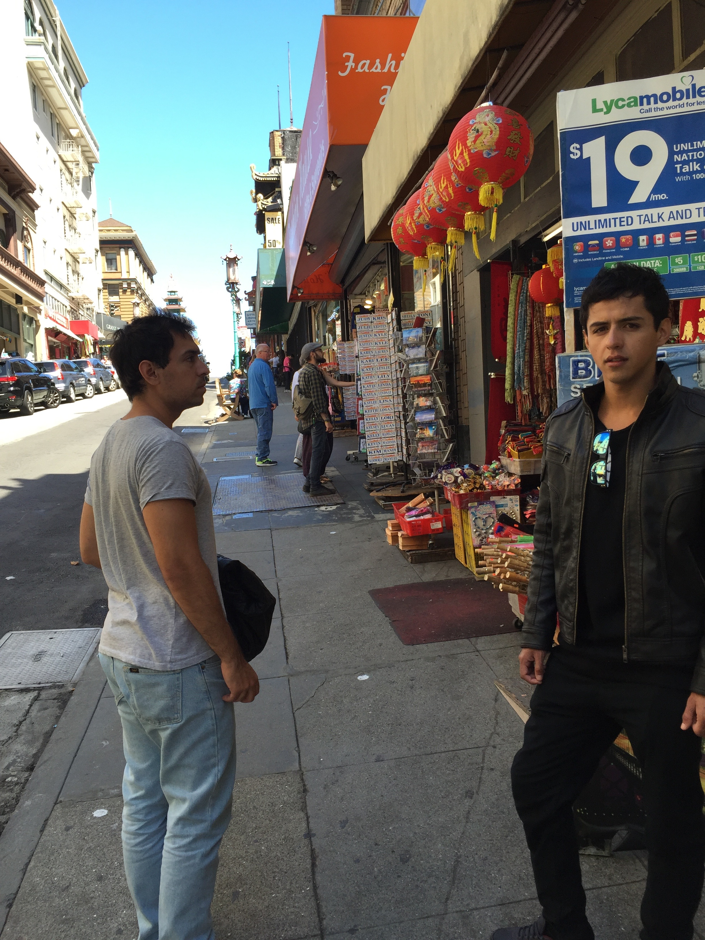 Chileans walk the streets of Chinatown.
