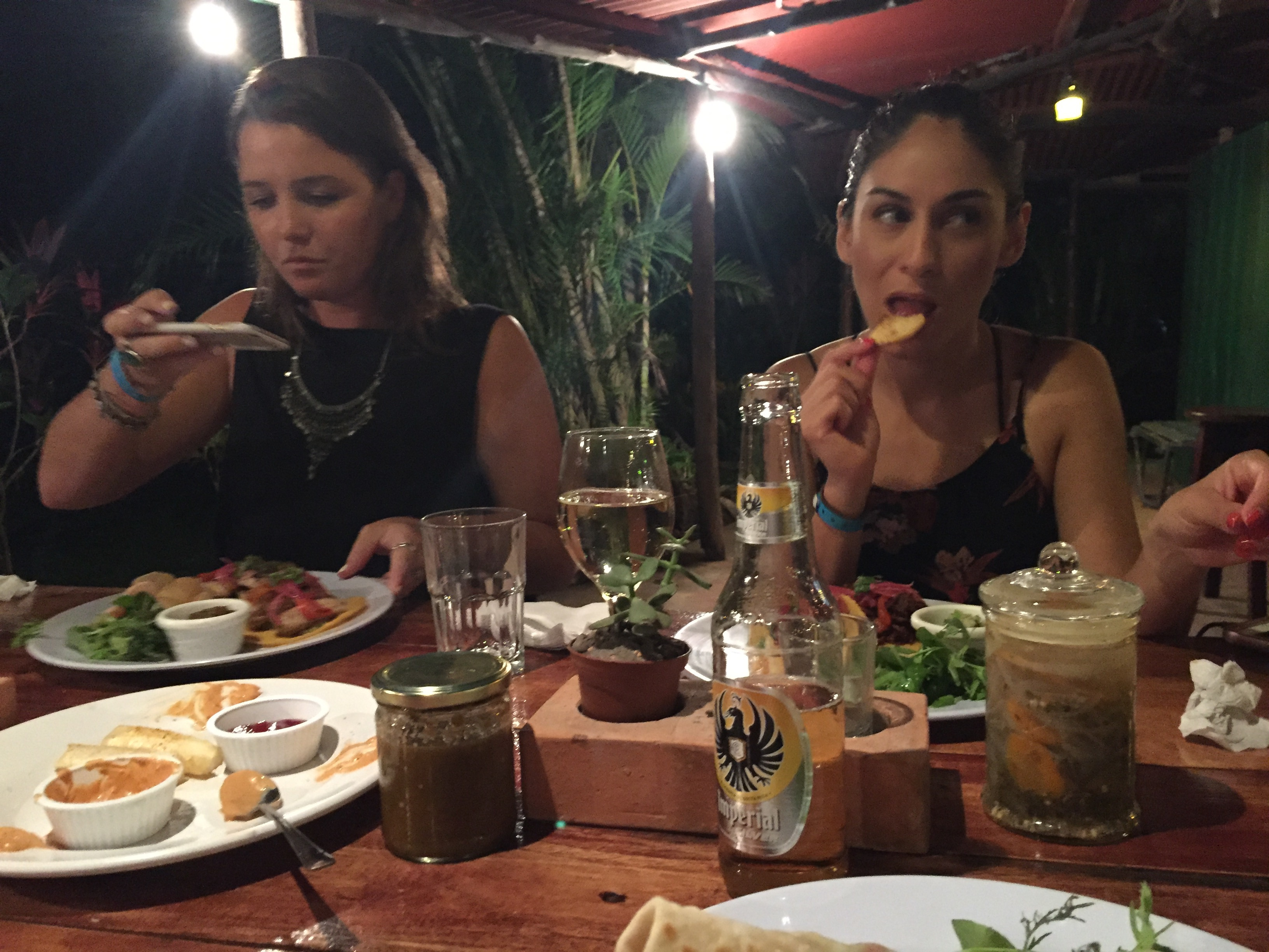 Girls eat a fancy meal in Nosara, Costa Rica.