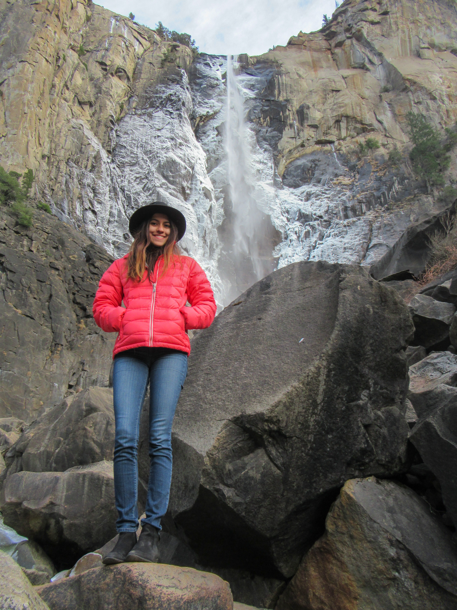 Bridalveil falls trickles over the edge during the winter in Yosemite.