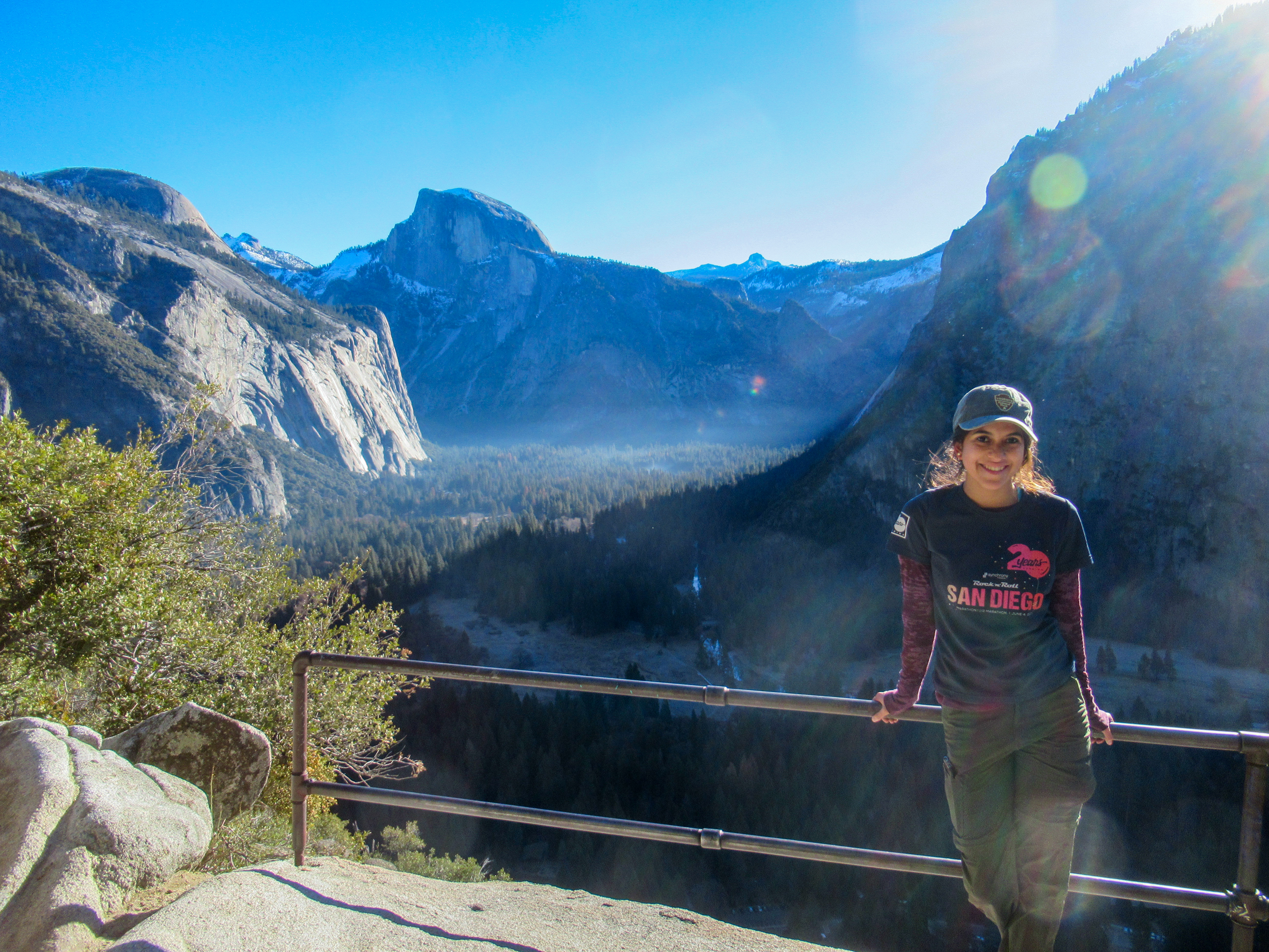 Madison Snively poses for a photo above Yosemite Valley.