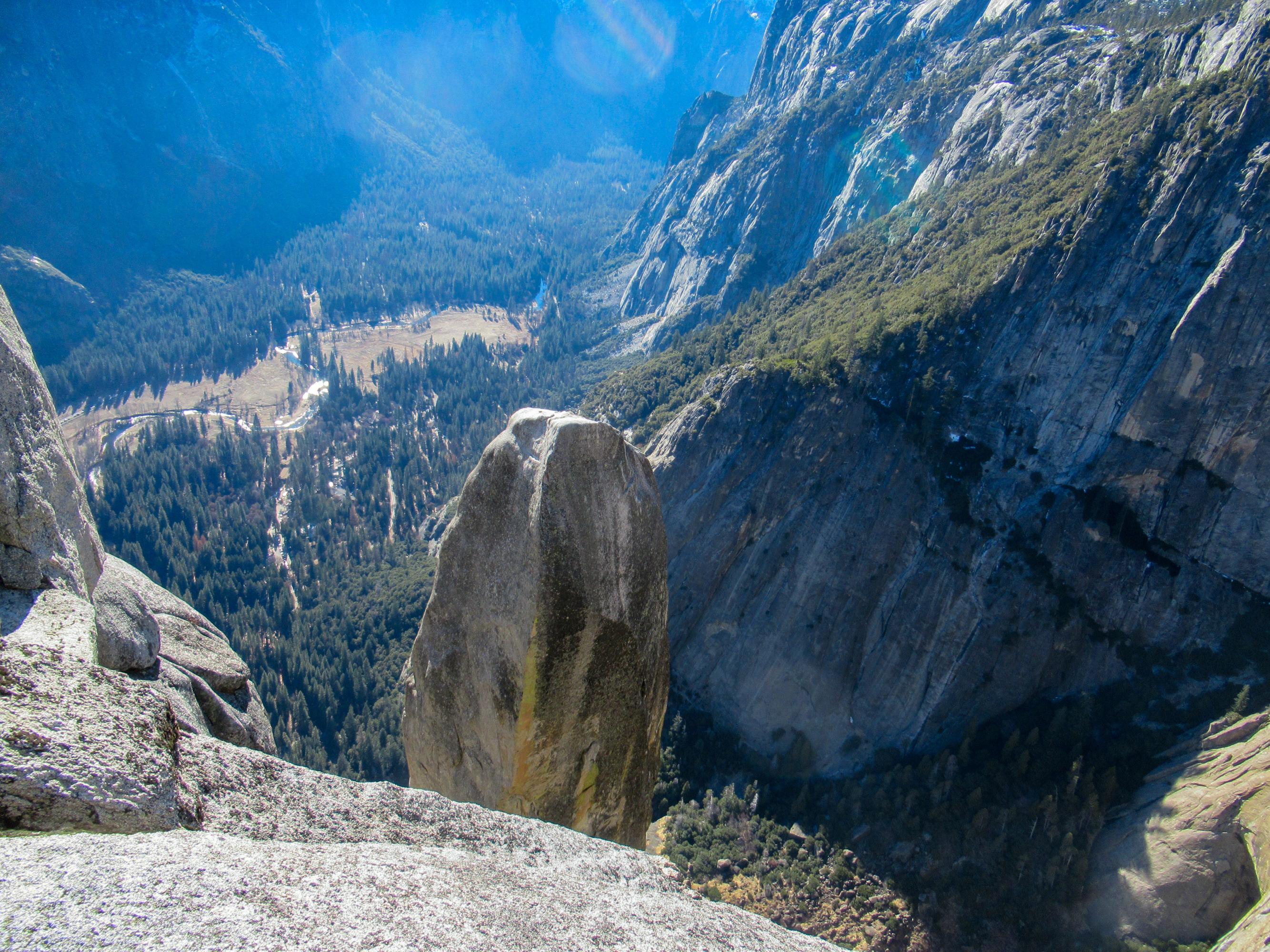 Lost arrow spire looms above Yosemite Falls.