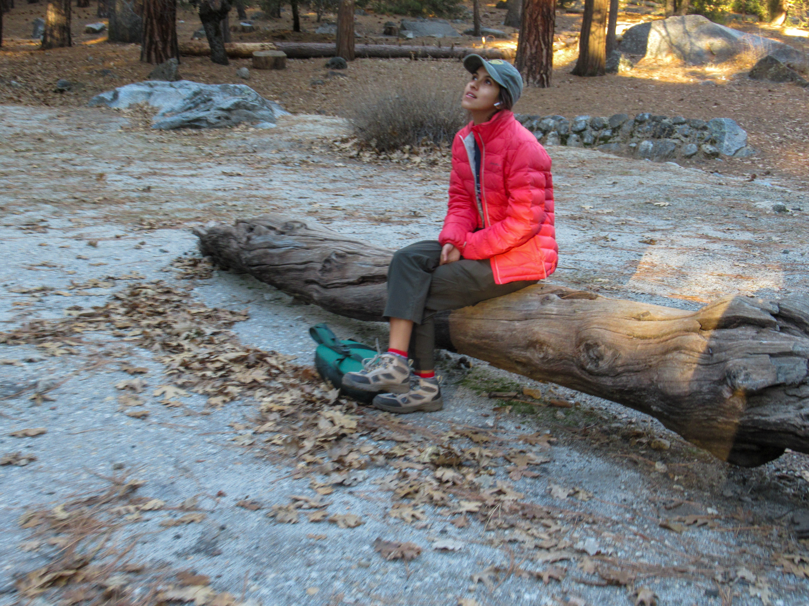 Madison Snively contemplatively sits on a log in Yosemite Valley.