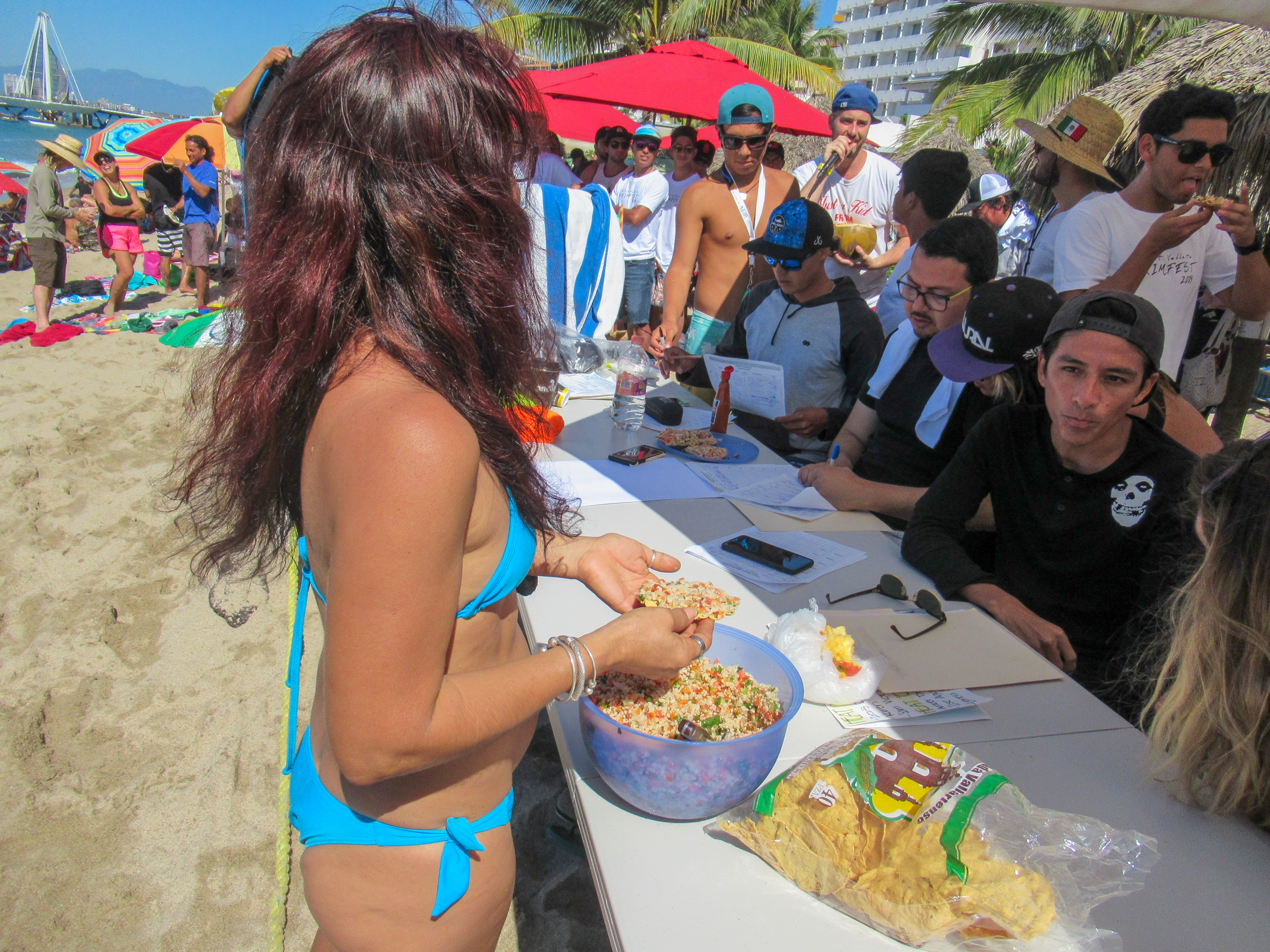 Mexicans eat ceviche in Puerto Vallarta.