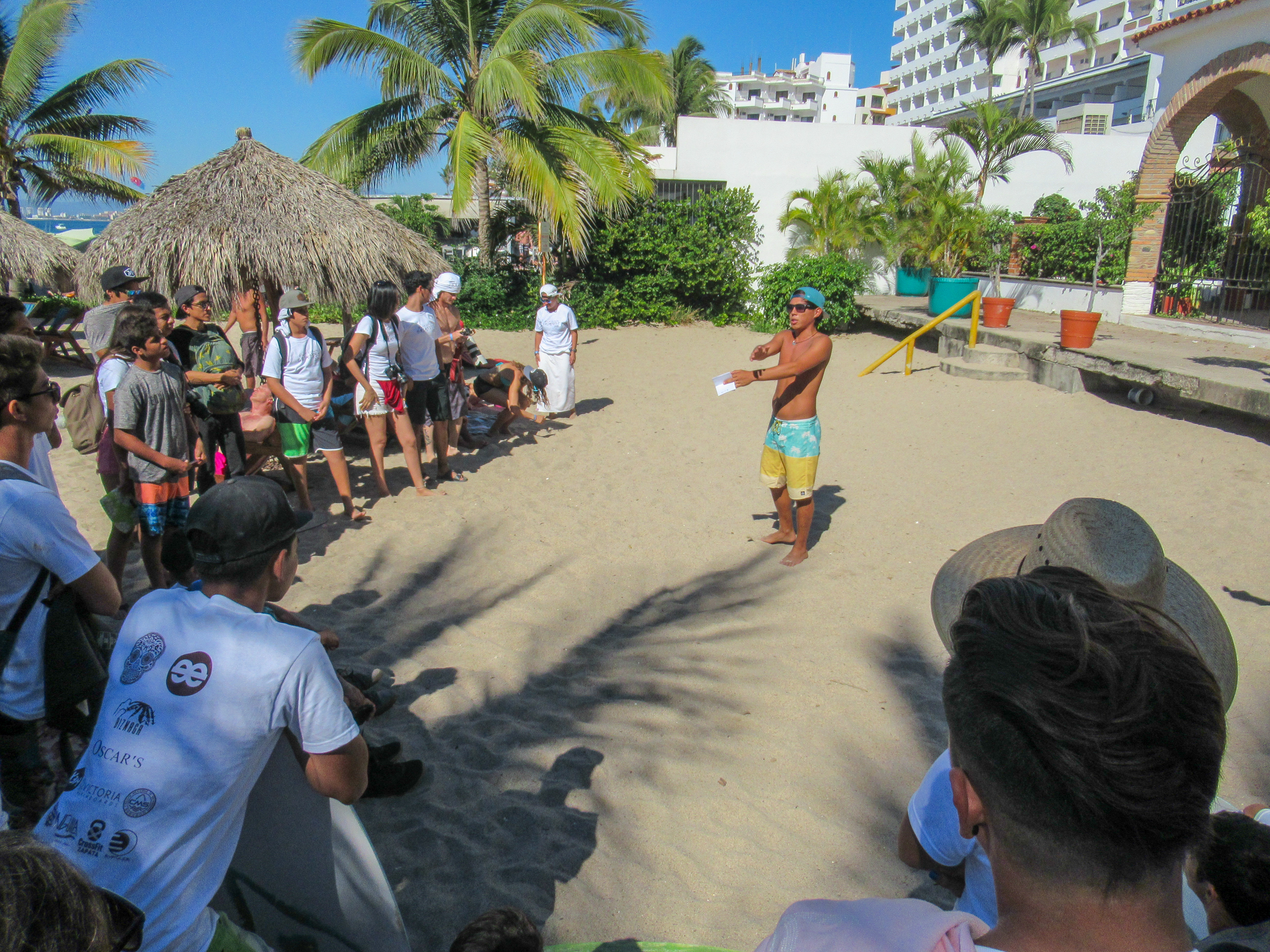 Skimboarders await the award ceremony in Puerto Vallarta.