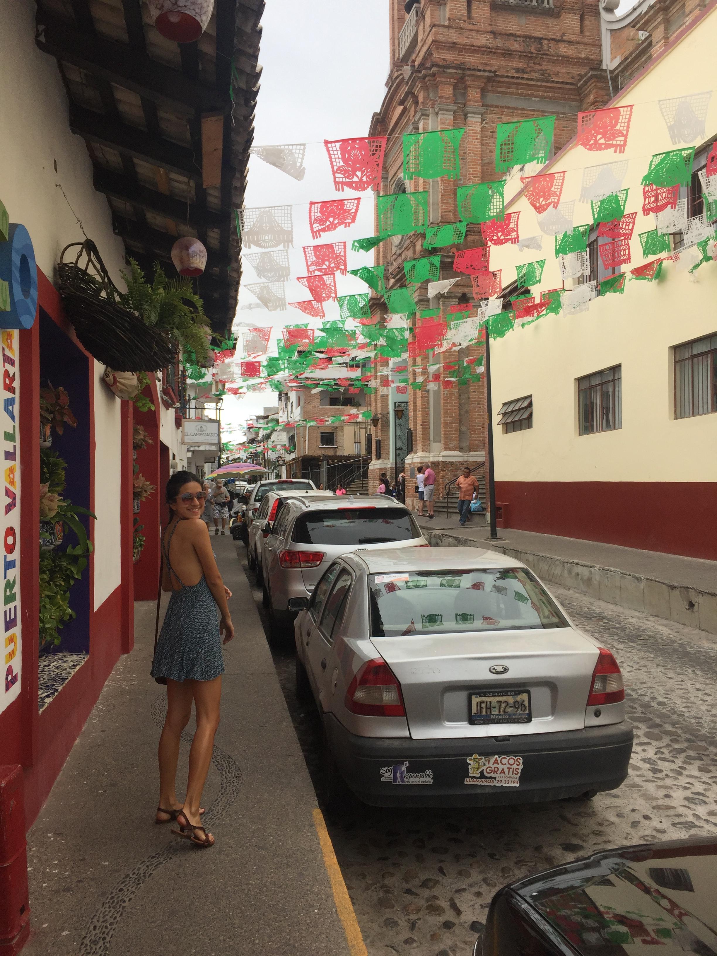 Walking down the cobblestone streets of old town Puerto Vallarta.