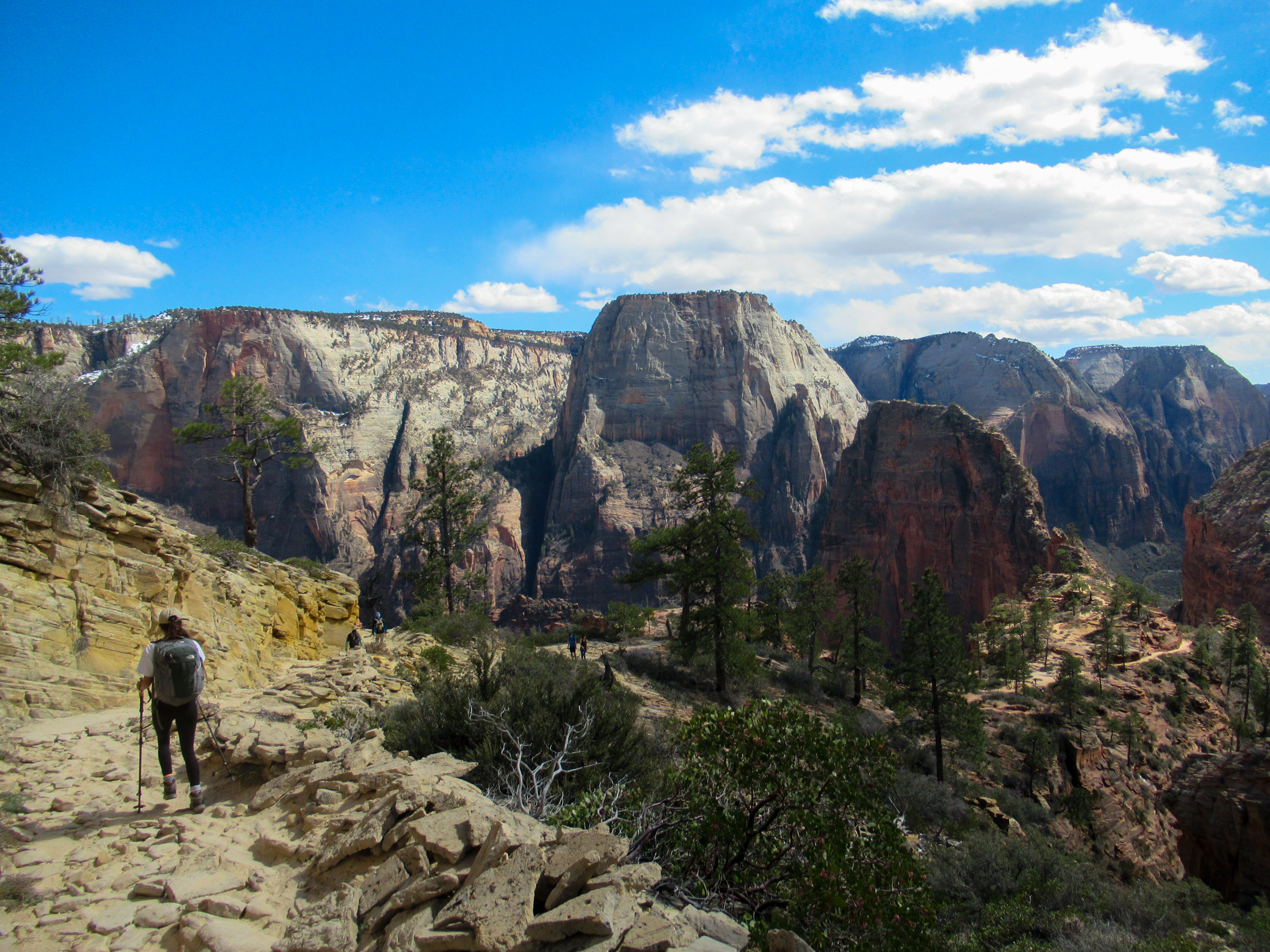 Hiking into Zion Canyon with a view of Angels Landing.