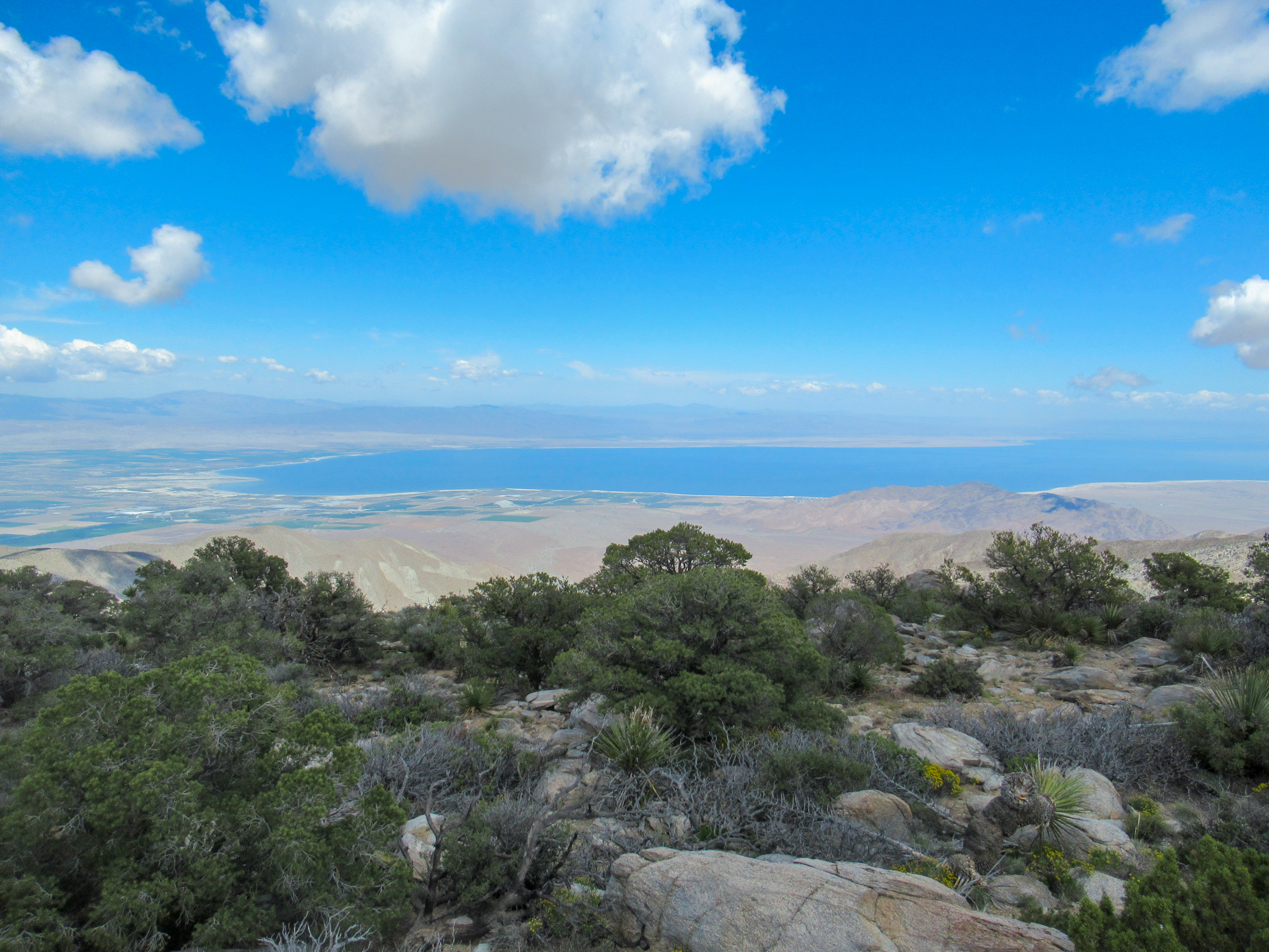 Clouds hang near the Salton Sea.