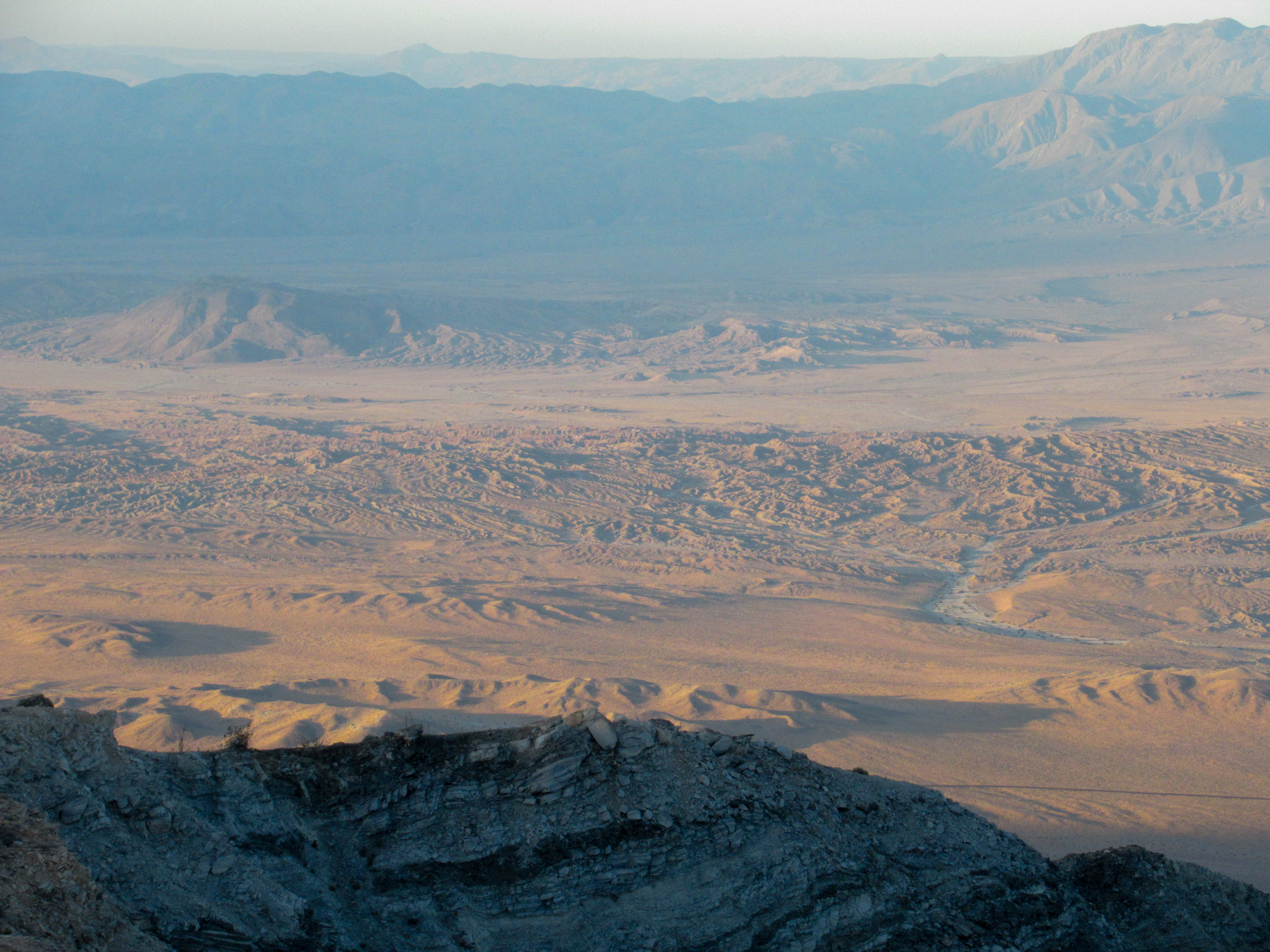 Sunrise illuminates the Borrego badlands.