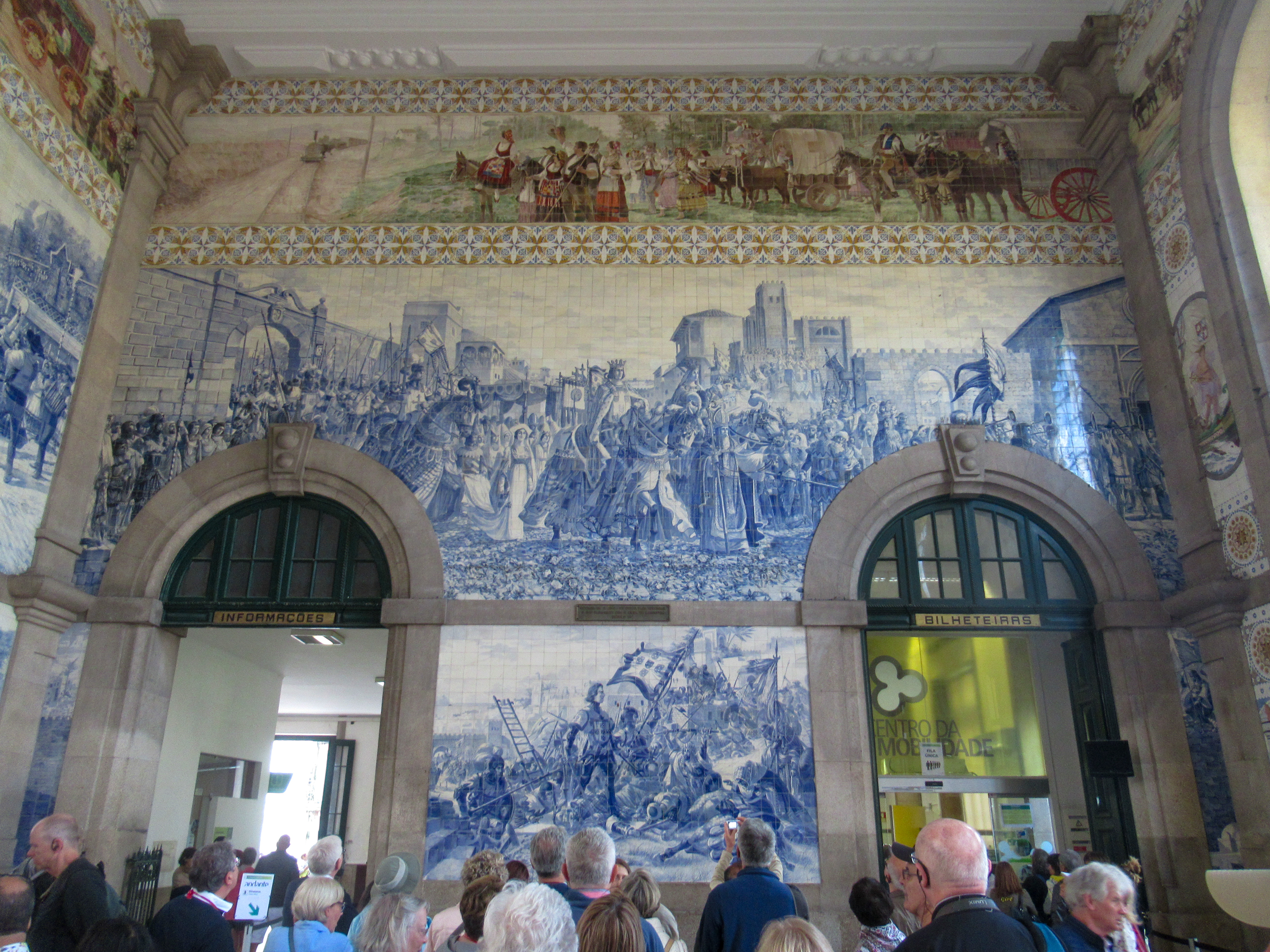 Tile mosaic on the inside of São Bento Railway Station in Porto, Portugal.