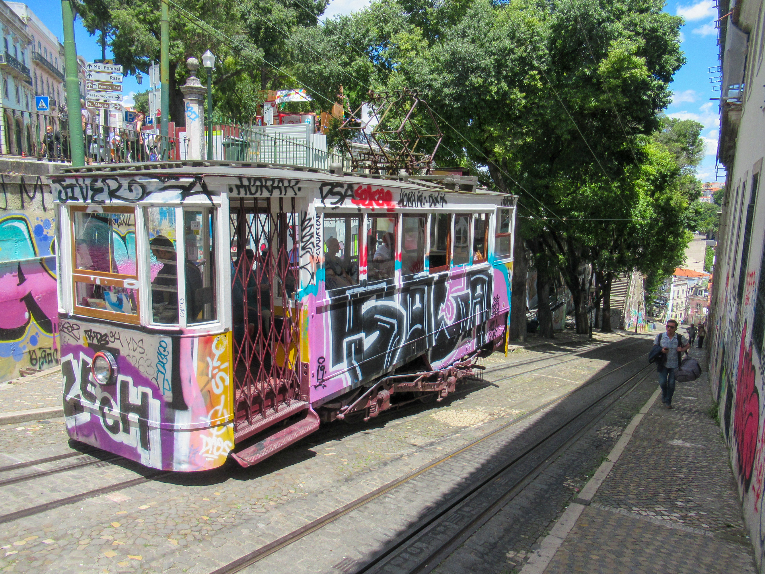 Streetcars in Lisbon, Portugal.
