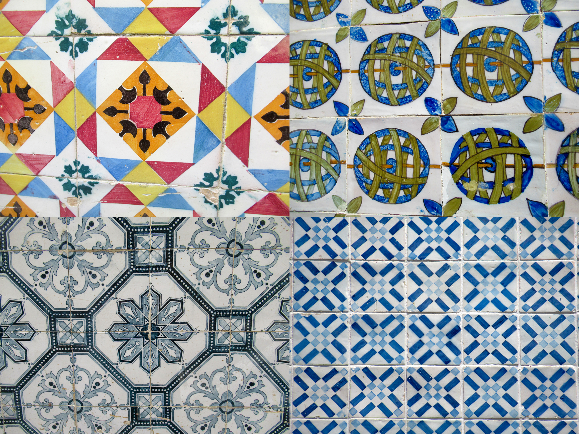 Different styles of Portuguese tiles.