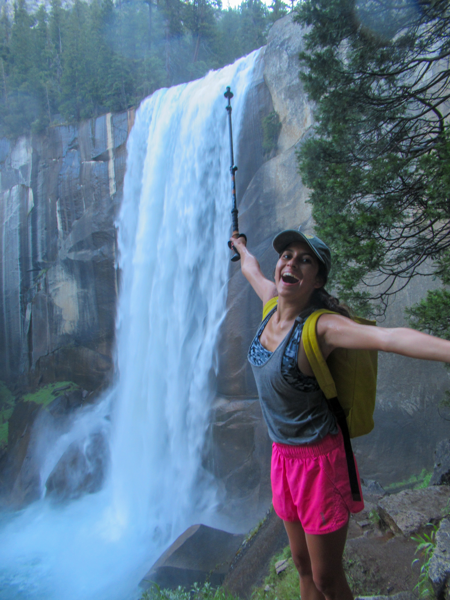 Madison Snively celebrates arriving at Vernal Falls.