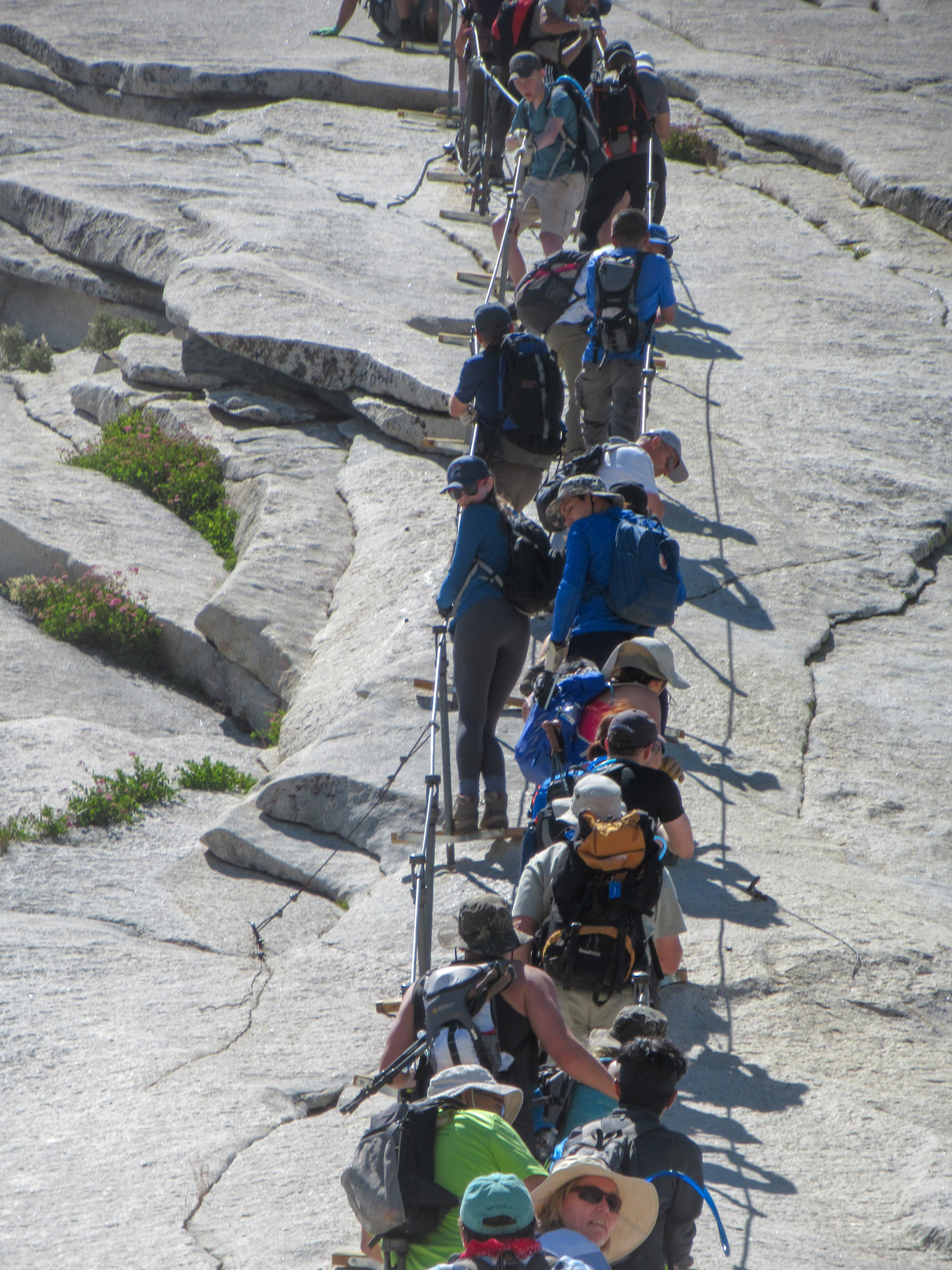Traffic jam on the Half Dome Cables.