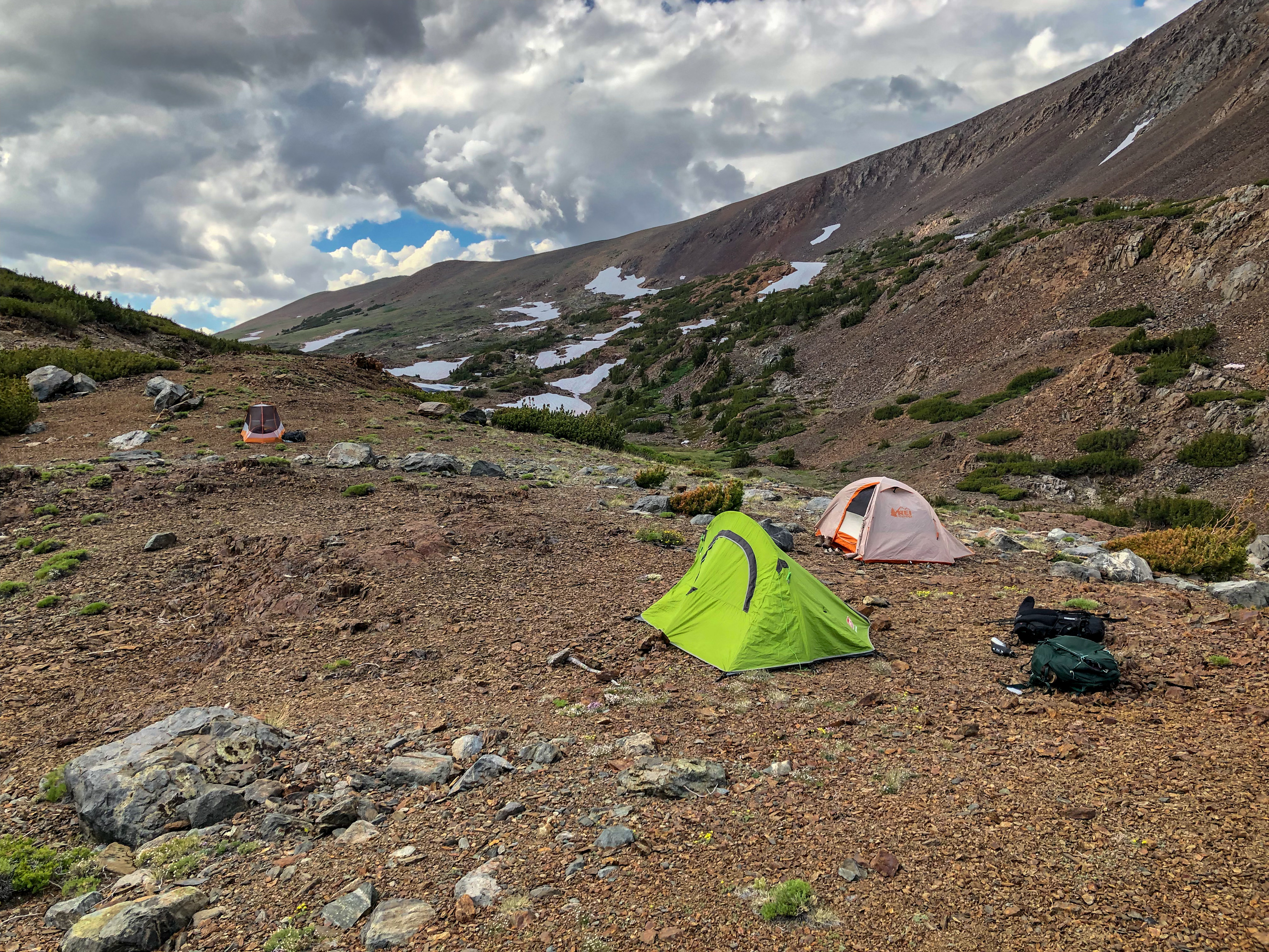 Camp set up with our tents at Parker Pass.