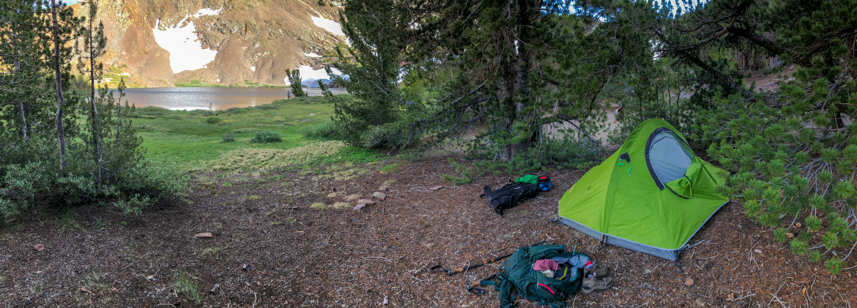 Tent set up near Upper Sardine Lake near Yosemite National Park.
