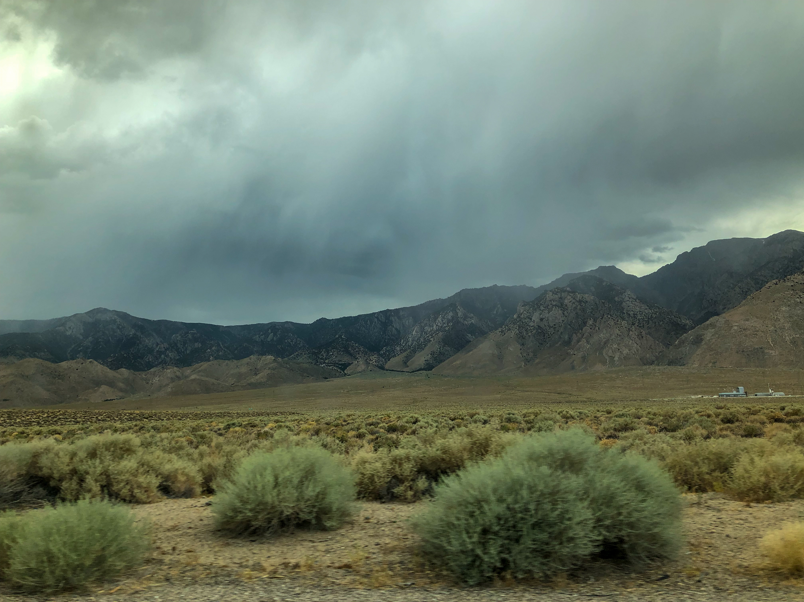 Storm clouds roll over the Sierra Nevada Mountains.