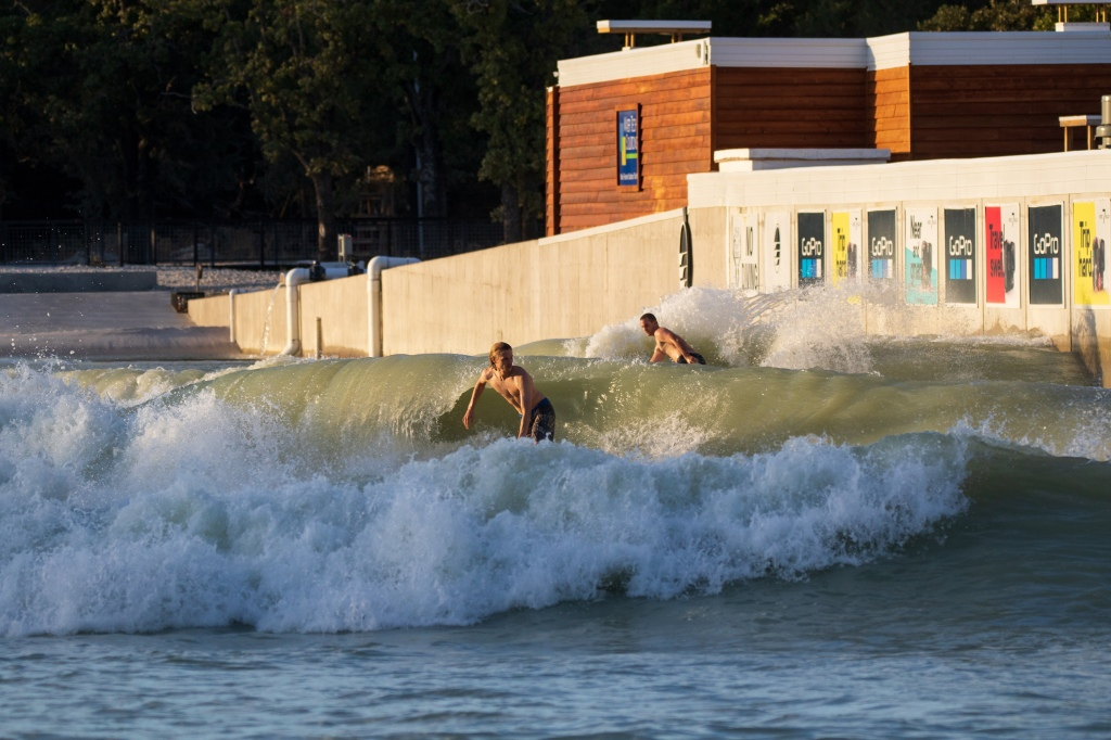 Evan Quarnstrom surfing the wave pool at BSR Cable Park in Waco, Texas.