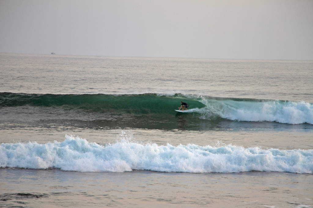 Evan Quarnstrom surfing a righthander at Punta Roca, El Salvador.