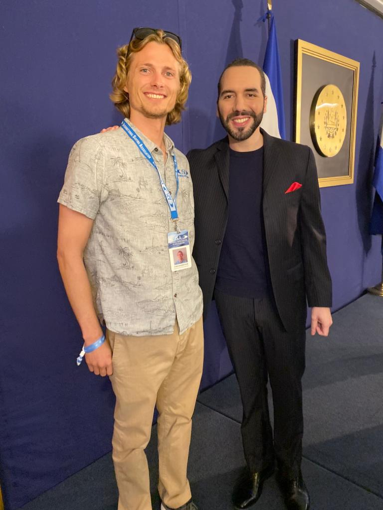 Evan Quarnstrom with the president of El Salvador Nayib Bukele.