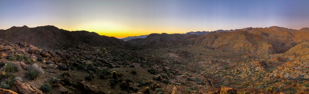 Panorama shot of the California desert border region.