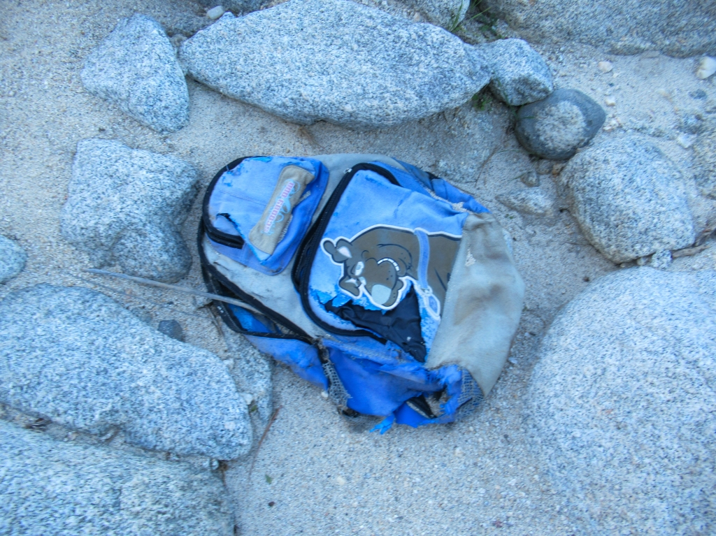 Backpack of an immigrant left behind.