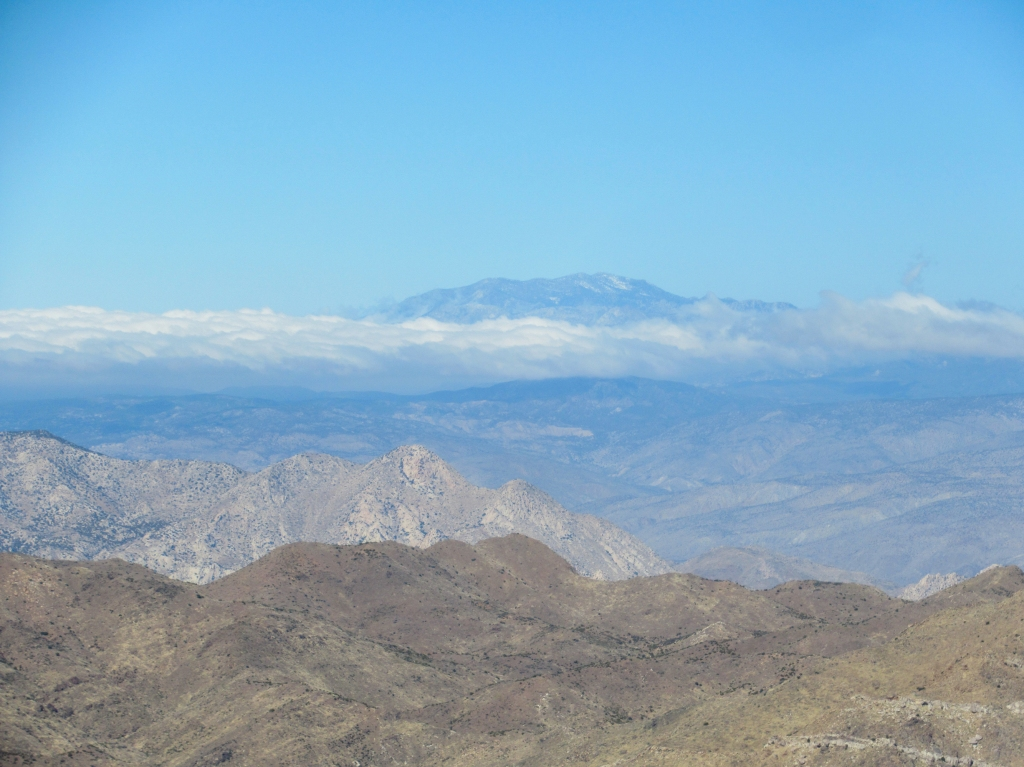 Mt San Jacinto rising above the clouds as seen from San Ysidro Mountain.