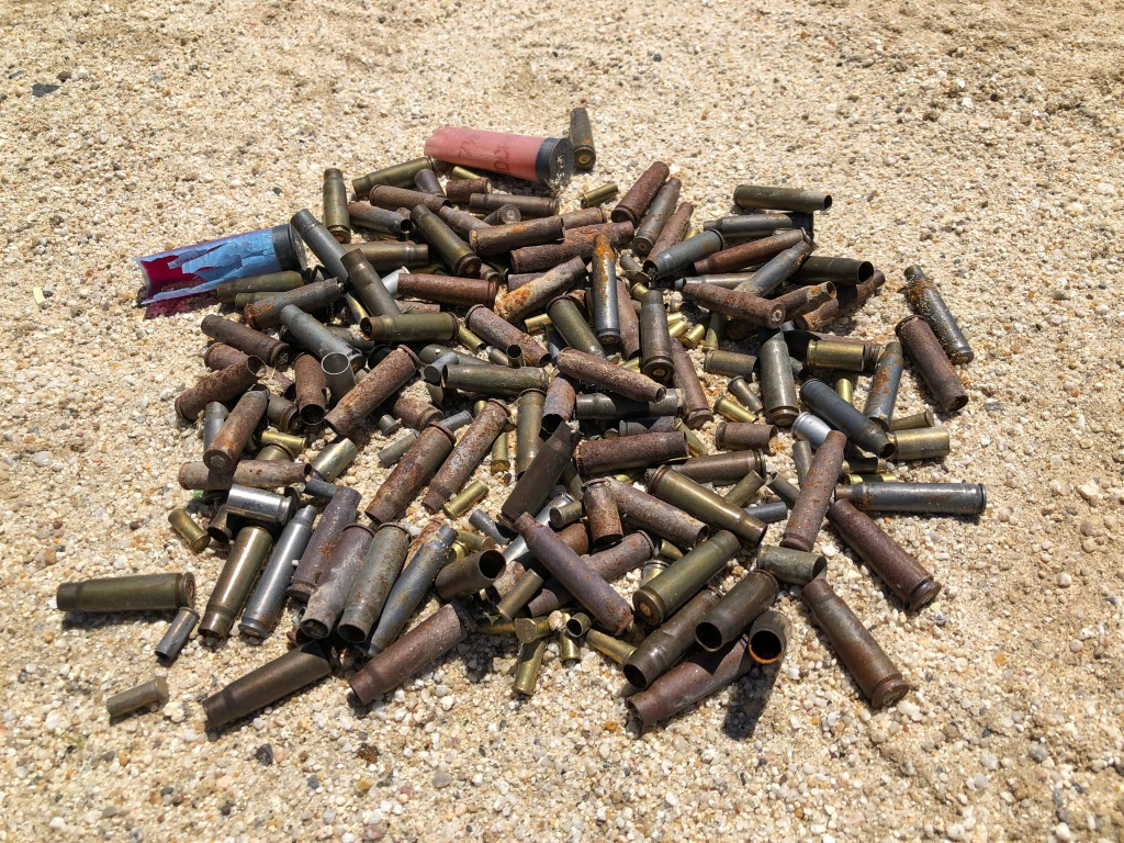 A pile of bullets collected on BLM land in the California desert.