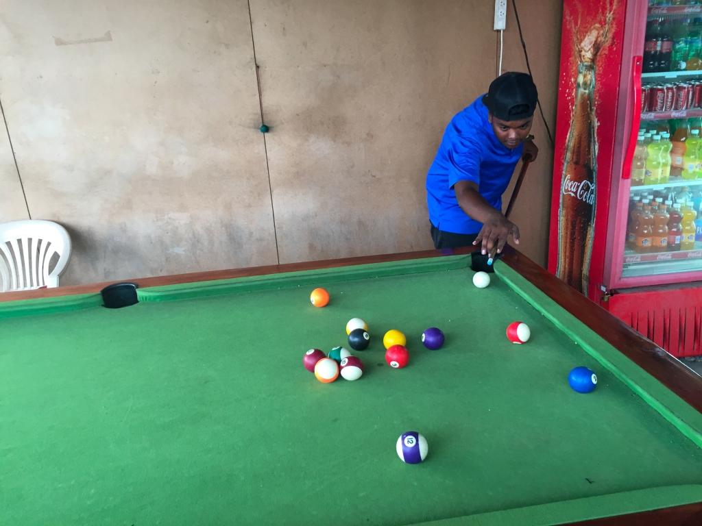 Playing pool in Nadi, Fiji.