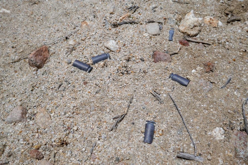 Bullet shell casings litter the dirt near Jacumba Peak.