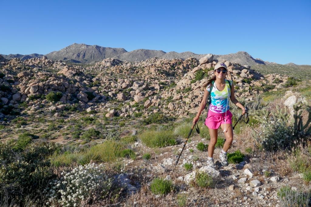 Madison Snively hiking in the desert near Jacumba Peak.