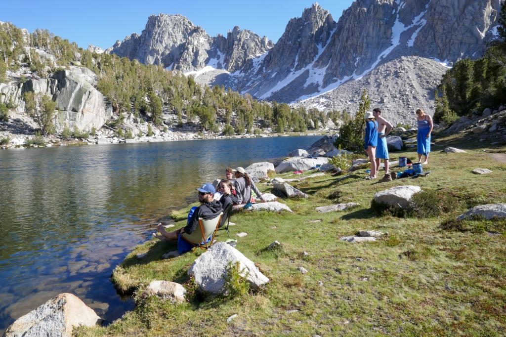 Swimming in Kearsarge Lakes, Sierra Nevada.