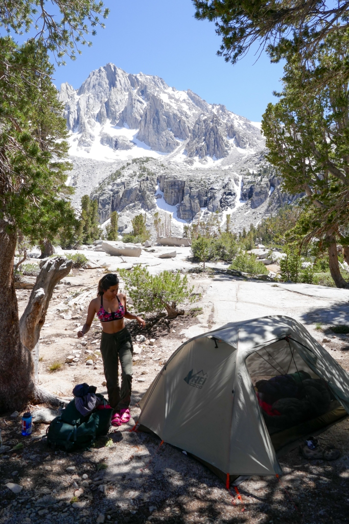 Camping at Matlock Lake, Sierra Nevada.