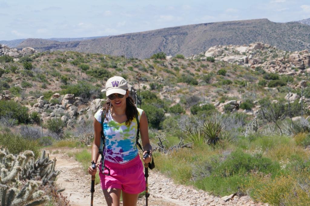 Madison Snively hiking to Jacumba Peak.