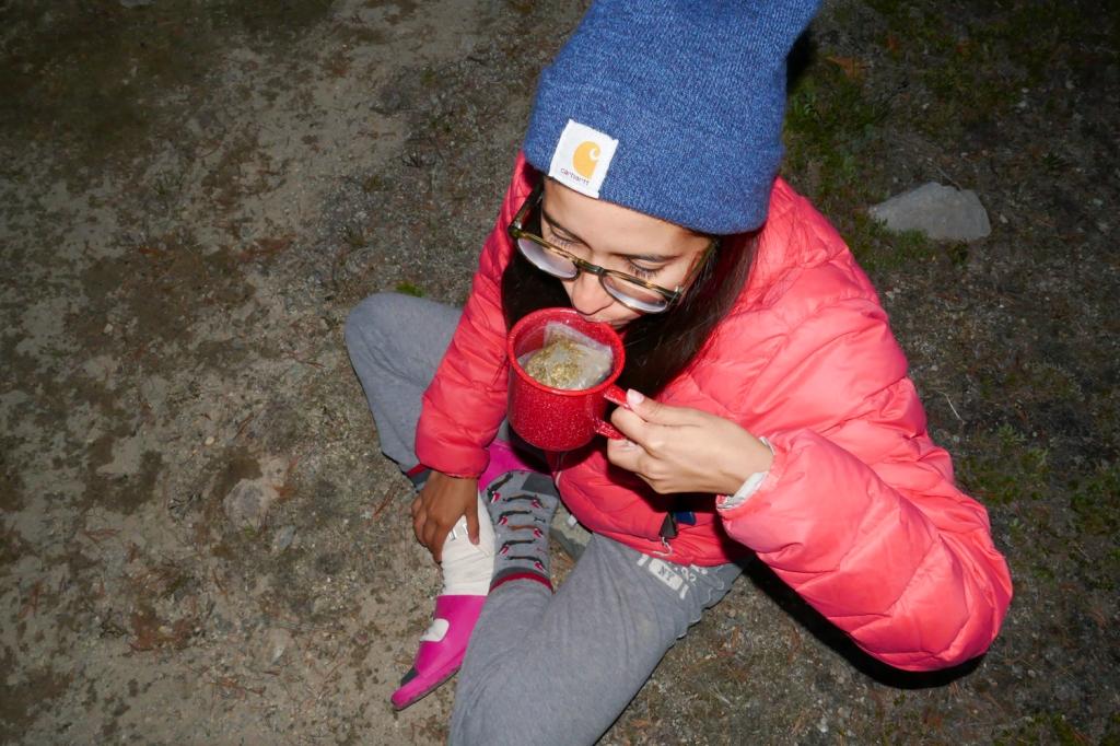 Drinking tea at Deer Lakes, Mammoth.