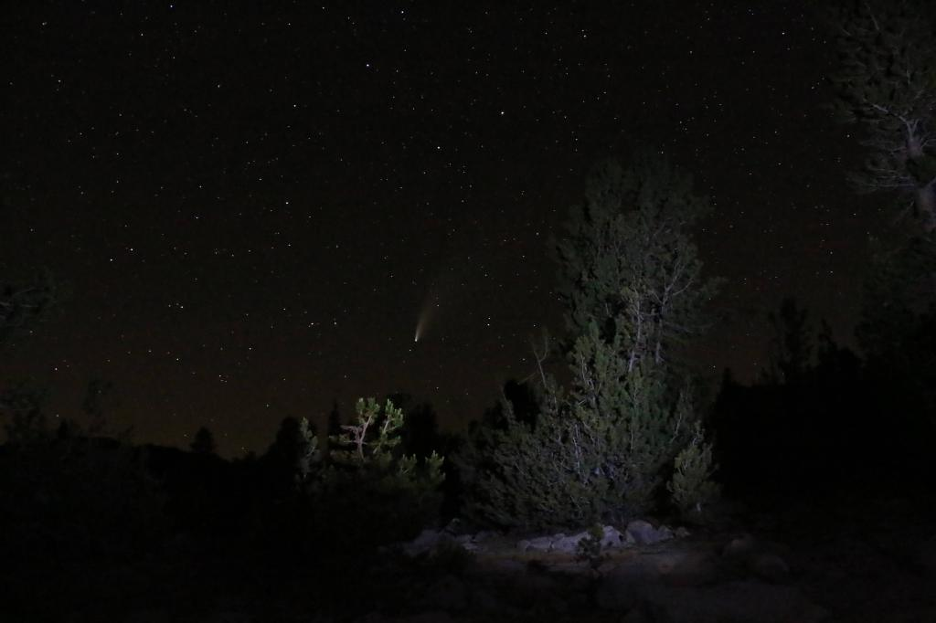 Comet Neowise seen from Pika Lake, Mammoth.