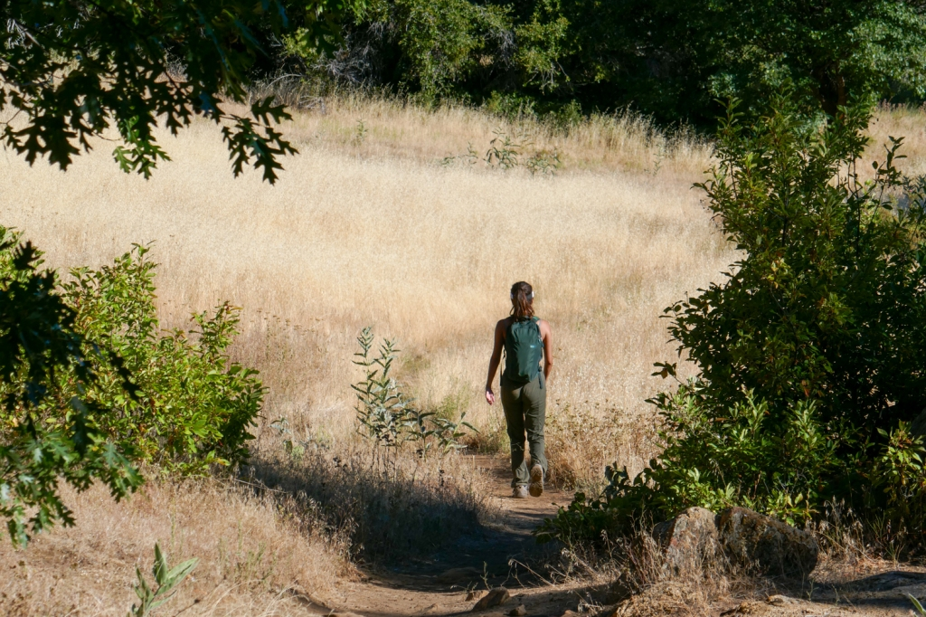 Madison Snively walks on a trail through a field of tall, dry grass in Cuyamaca Rancho State Park.