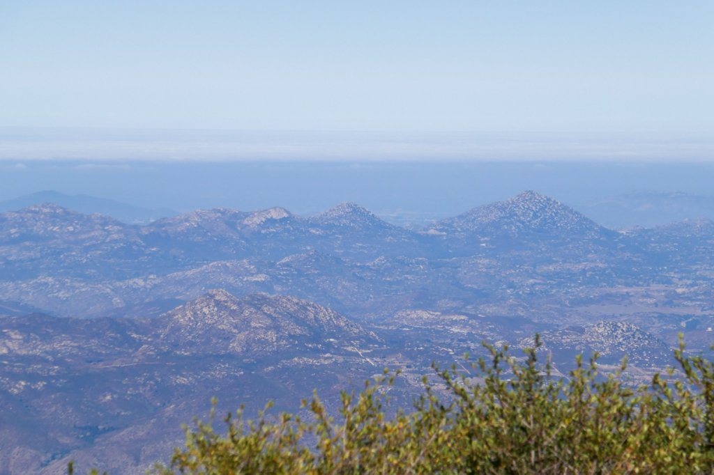 Potato Chip Rock, Mt Woodson, as seen from Cuyamaca Peak.