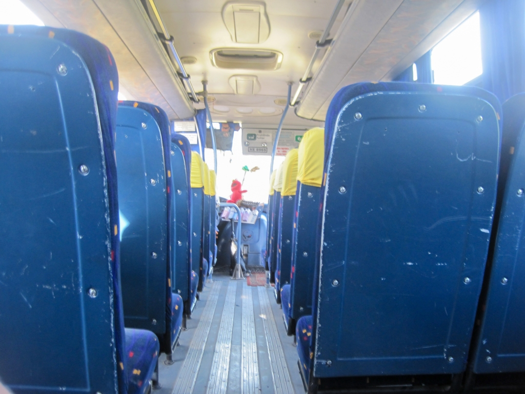 Riding a bus in Chile.
