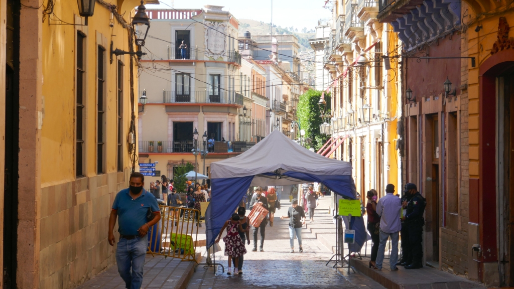 Coronavirus restrictions in place in the historic center of Guanajuato.