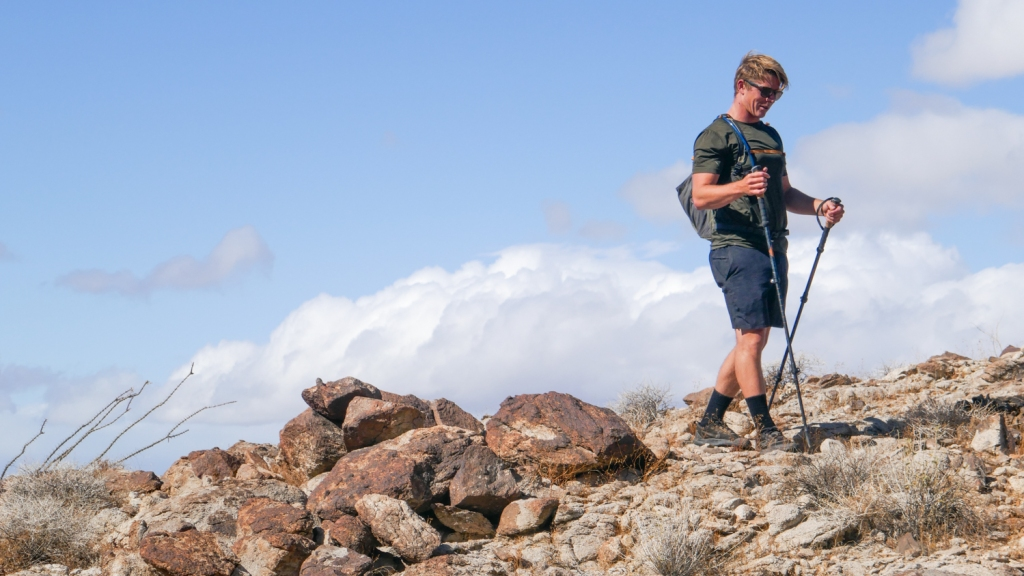 Nate Straus hikes near the summit of the Fish Creek Mountains.