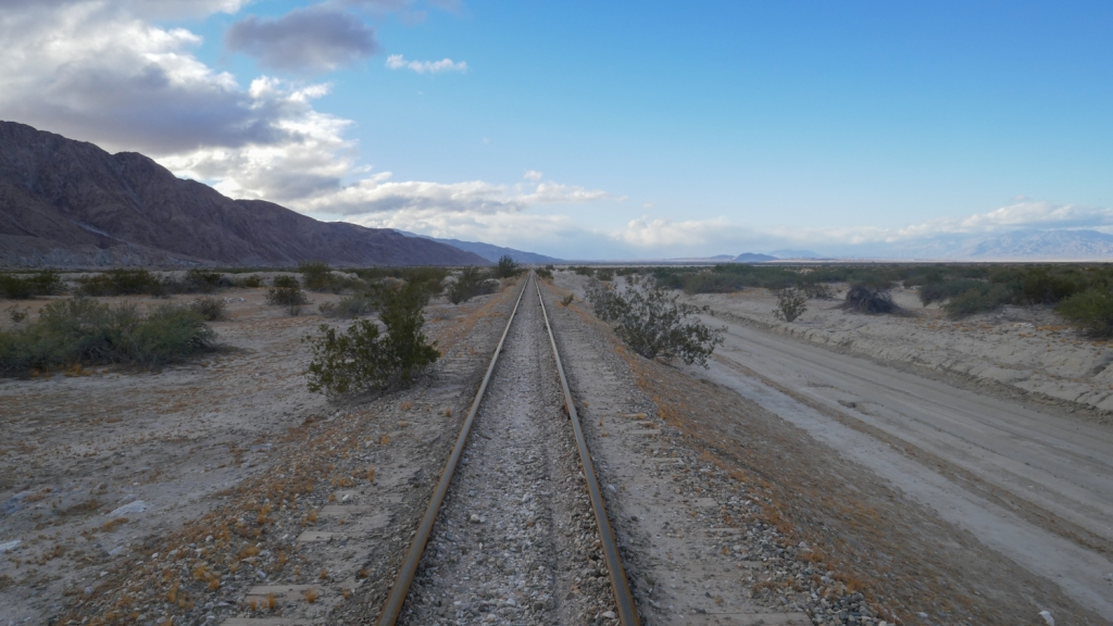 Railroad tracks near the Fish Creek Mountains of Imperial County.