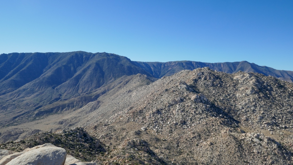 Views of the Sawtooth Mountains and Mount Laguna from Red Top Mountain.
